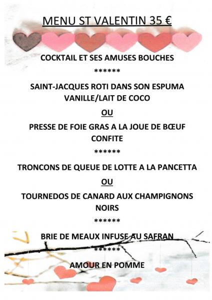 Menu saint valentin 2020